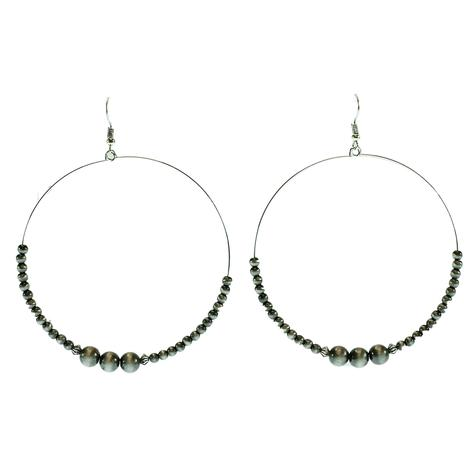 West & Company Faux Navajo Pearl Wire Beaded Dangle Hoop Earrings