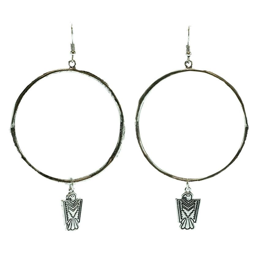 West & Company Silver Hammered Hoop Earrings With Thunderbird