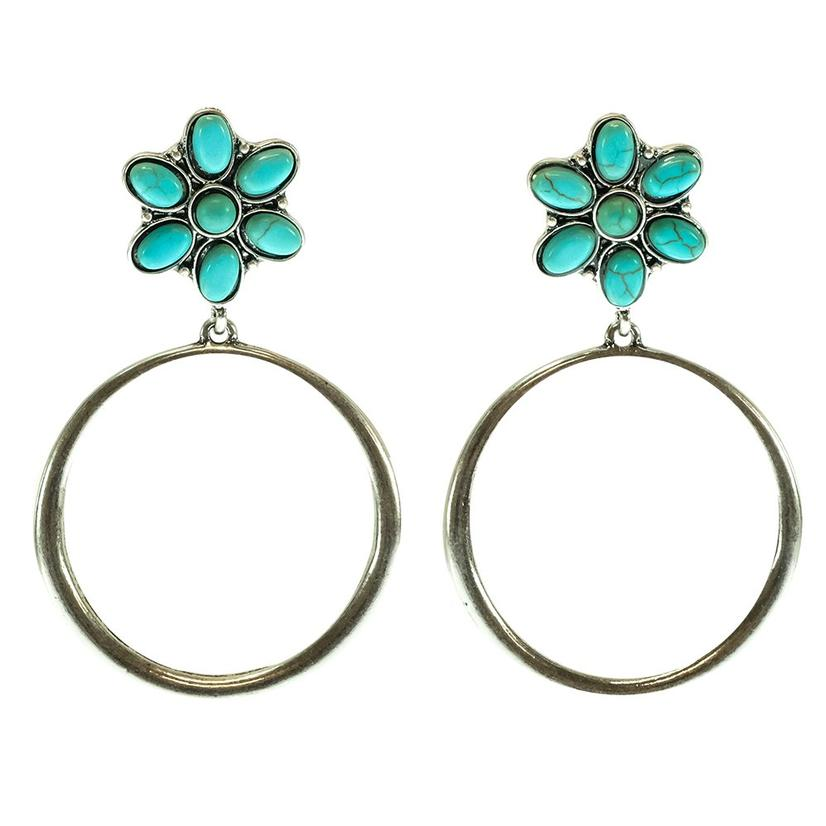 West And Company Hammered Hoops With Turquoise Flower Stud Earrings