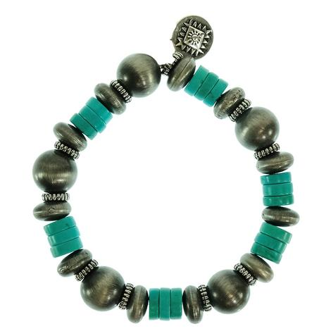 West & Company Faux Navajo Pearl and Turquoise Bead Stretch Bracelet