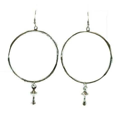 West & Company Silver Hammered Hoop Earrings