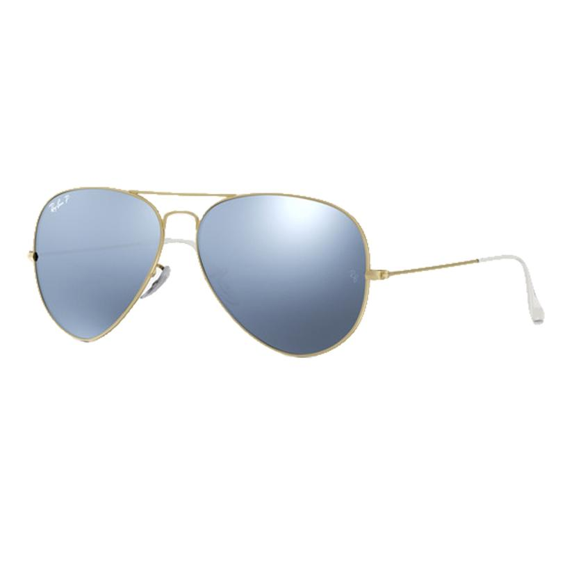 Ray- Ban Aviator Matte Gold Frames With Silver Flash Polarized Lens Sunglasses