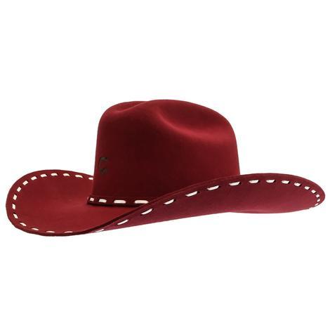 Charlie 1 Horse Bucksnort Burgundy Felt Hat