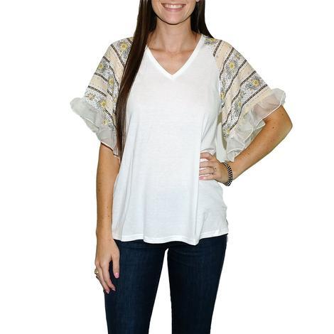Women's V-Neck Ruffle White Short Sleeve Blouse