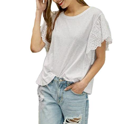 White Jersey Women's Top with Eyelet Trimmed Sleeves