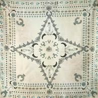 Antiqued Bone and Turquoise Squash Blossomed Wild Rag 35x35