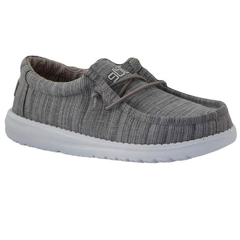 Hey Dude Wally Youth Linen Stone Shoes