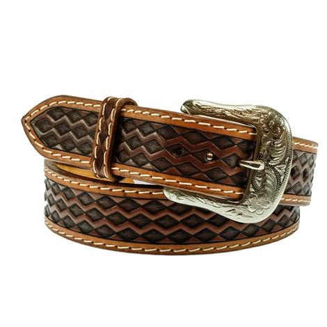 Western Brown and Tan Diamond Print Men's Belt