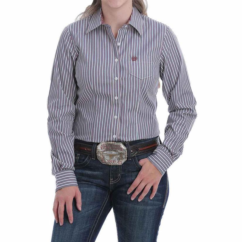 Cinch Blue Pink Stripe Buttondown Long Sleeve Women's Shirt