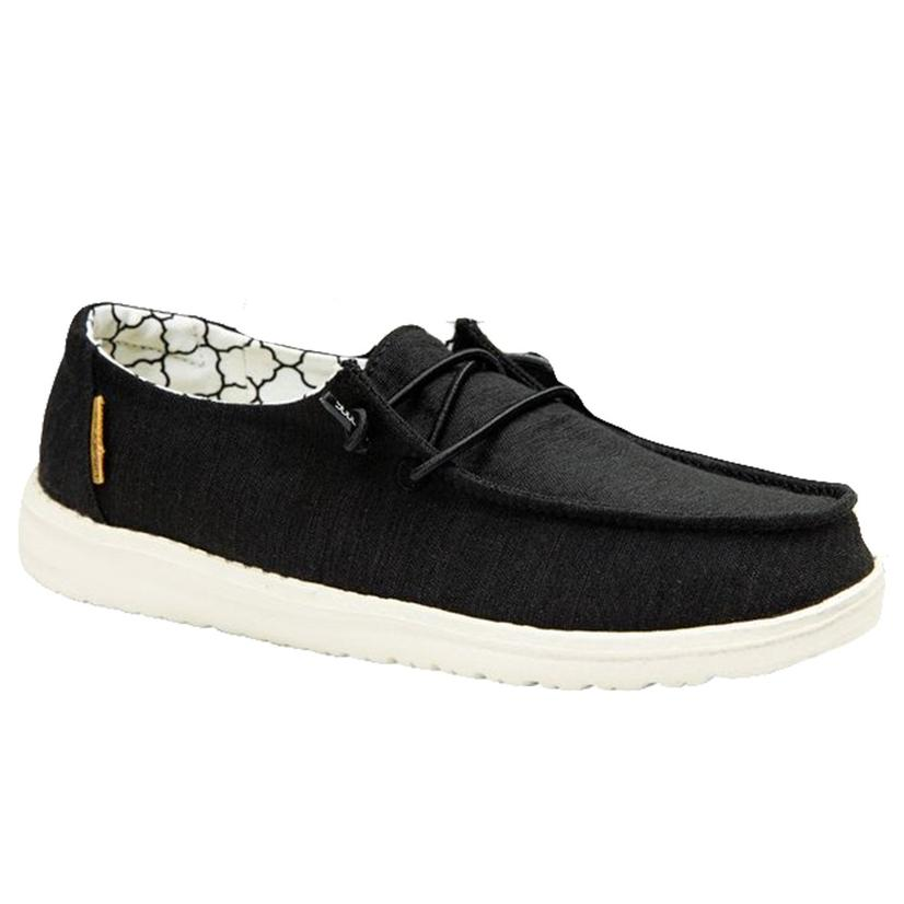 Hey Dude Wendy Youth Linen Black Shoe