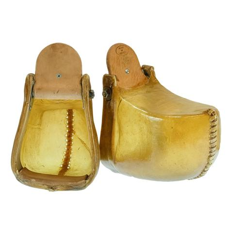 STT Youth Tapaderos - Rawhide and Brown Leather