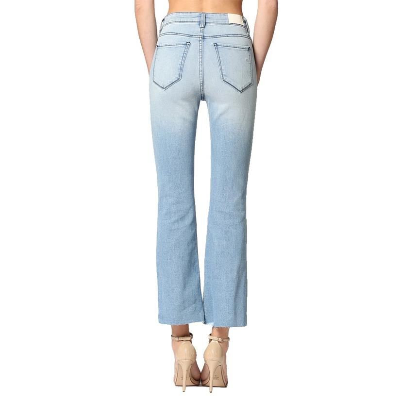 Light Wash Front Curved Hem Flare By Hidden Jeans