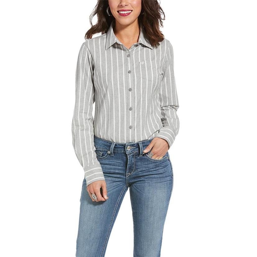 Ariat Kirby Stretch Grey Stripe Long Sleeve Buttondown Women's Shirt