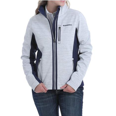 Cinch Womens Silver and Navy Color Block Bonded Jacket