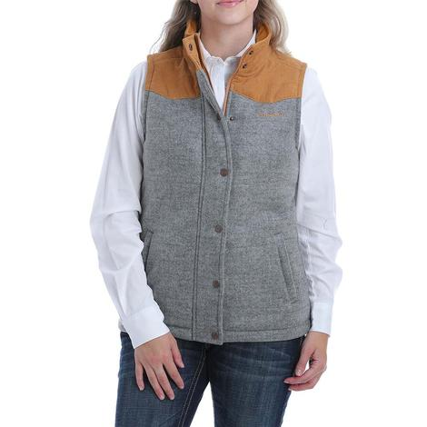 Cinch Grey Tan Tweed Corduroy Women's Vest