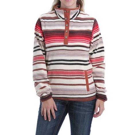 Cinch Red Brown Striped Fleece Quarter Zip Women's Pullover