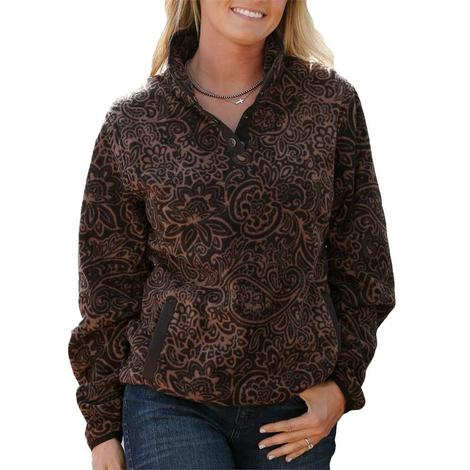 Cinch Brown Print Fleece Women's Pullover
