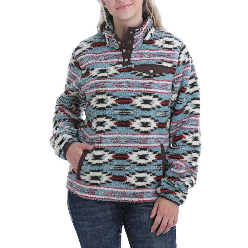Cinch Brown Aztec Print Fleece Women's Pullover