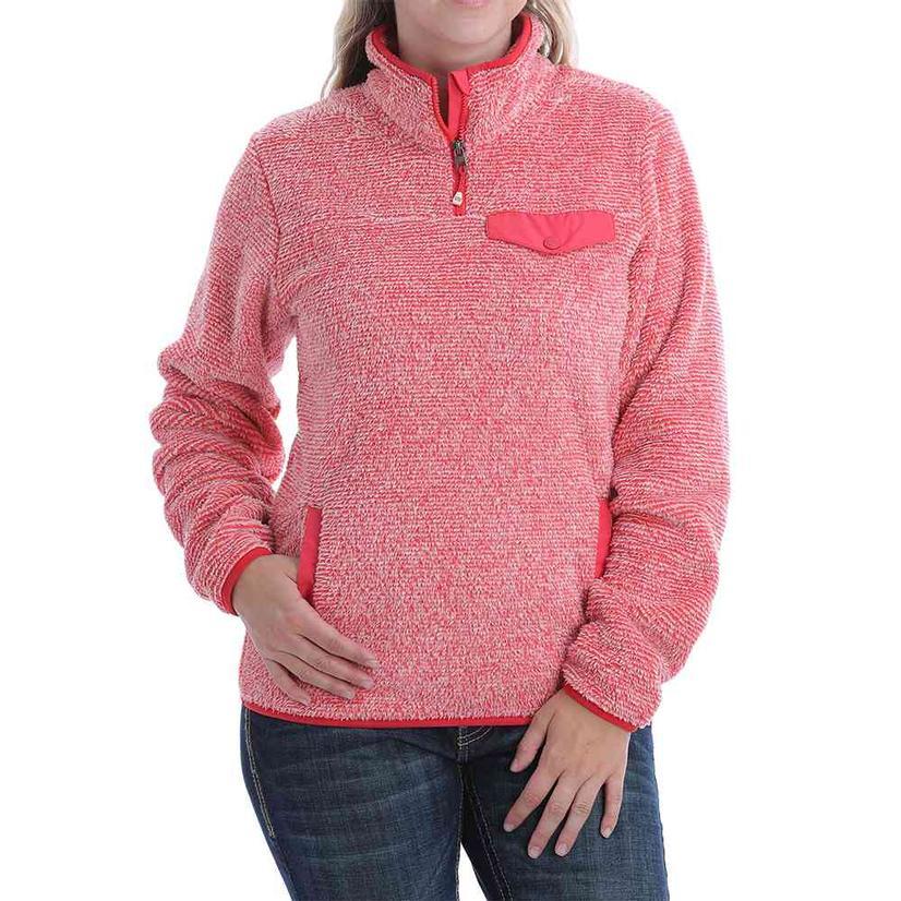 Cinch Coral Two- Tone Fleece Quarter Zip Women's Pullover