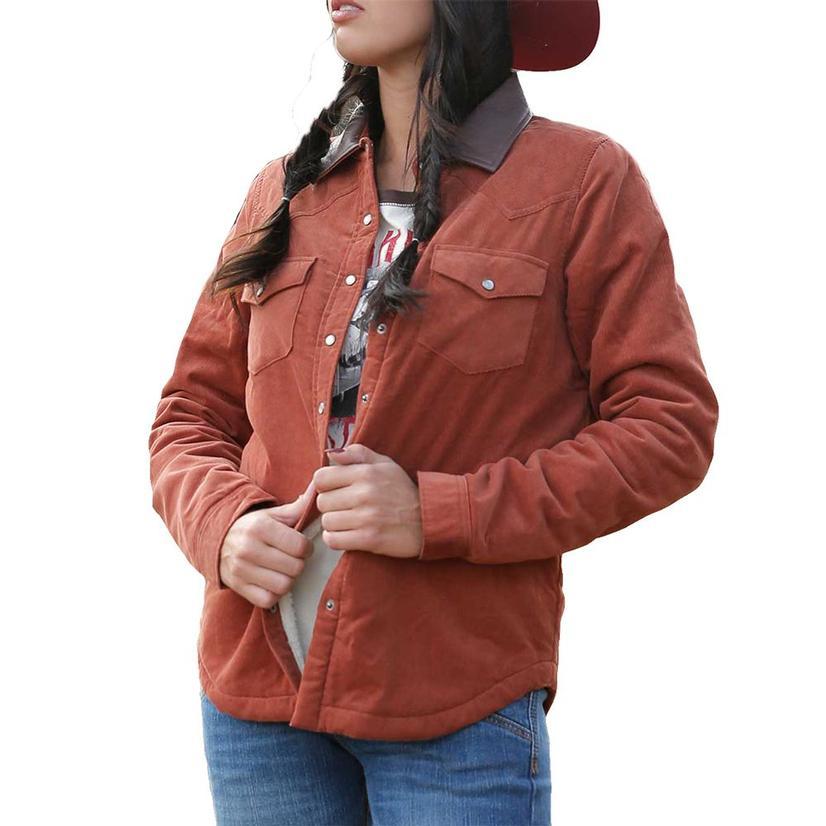 Cruel Girl Rust Corduroy Sherpa Lined Women's Jacket