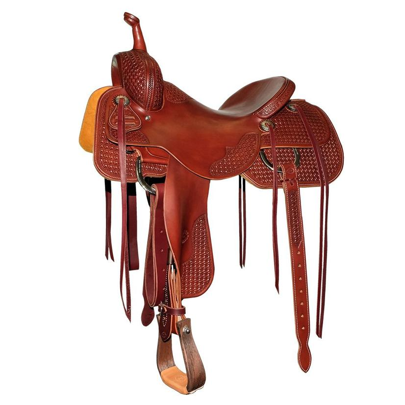 Stt Custom Mahogany Half Windmill Stamped Cutting Saddle