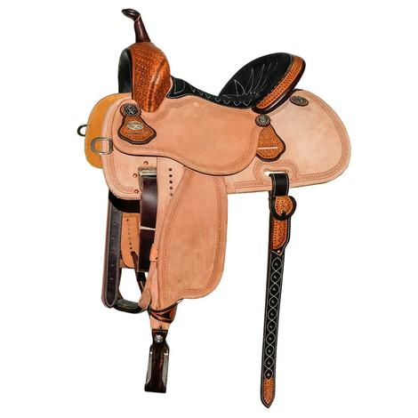 Martin Saddlery Stingray Quarter Tool Antique Boom Box with San Carlos Border Barrel Saddle