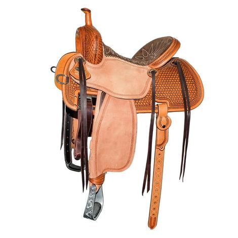 Martin Saddlery Crown C Medium Oil Half Tool Basket Stamp with Woven Rope Border Barrel Saddle