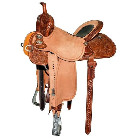 Martin Saddlery Stingray Half Chocolate Tool Wyoming Flower with Bison Inlay Seat Barrel Saddle