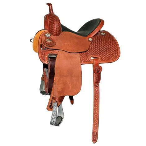 Martin Saddlery Crown C Half Chestnut Tool Boom Box with Padded Bison Seat Barrel Saddle