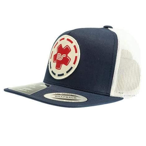 Hooey Rocker Steiner 5 Panel Navy and White with Circle Patch Meshback Cap