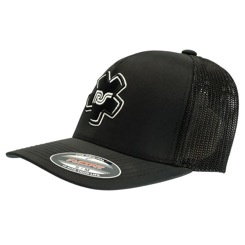 Hooey Rocker Steiner Black 5 Panel With Patch Meshback Cap