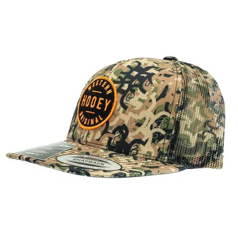Hooey Camo 6-Panel Trucker with Black and Orange Patch Cap