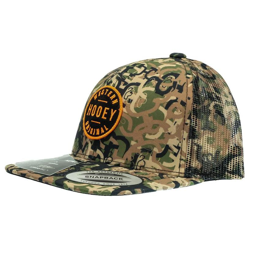 Hooey Camo 6- Panel Trucker With Black And Orange Patch- Youth Cap