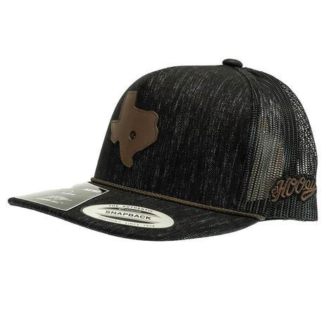 Hooey Tejas Black 5 Panel Trucker with Leather Texas Patch Meshback Cap