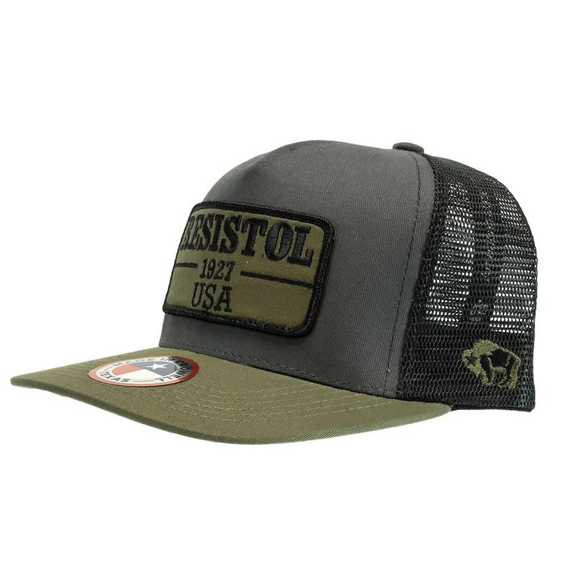 Hooey Resistol 5- Panel Charcoal And Black With Olive Patch Meshback Cap