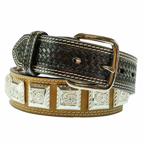 Brown and Silver Square Concho Kid's Belt