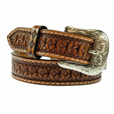 Tan Cross Tooled Kid's Belt