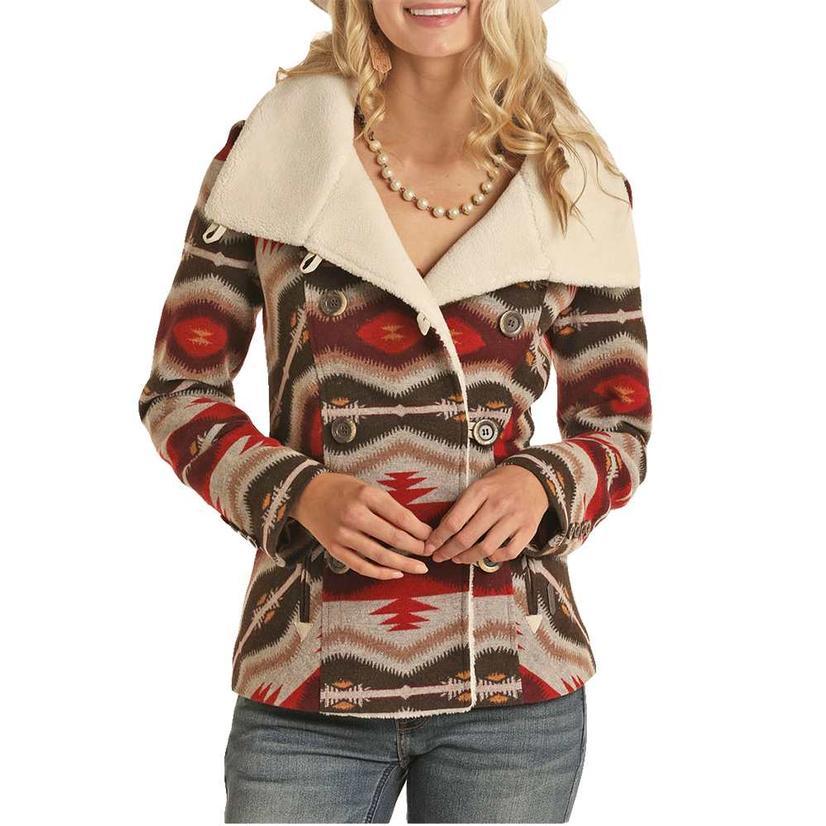 Powder River Brown And Red Aztec Print Wool Women's Coat