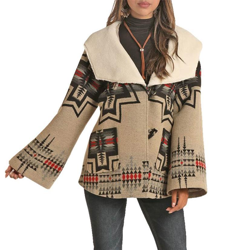 Powder River Natural & Black Aztec Print Wool Cape Women's Coat