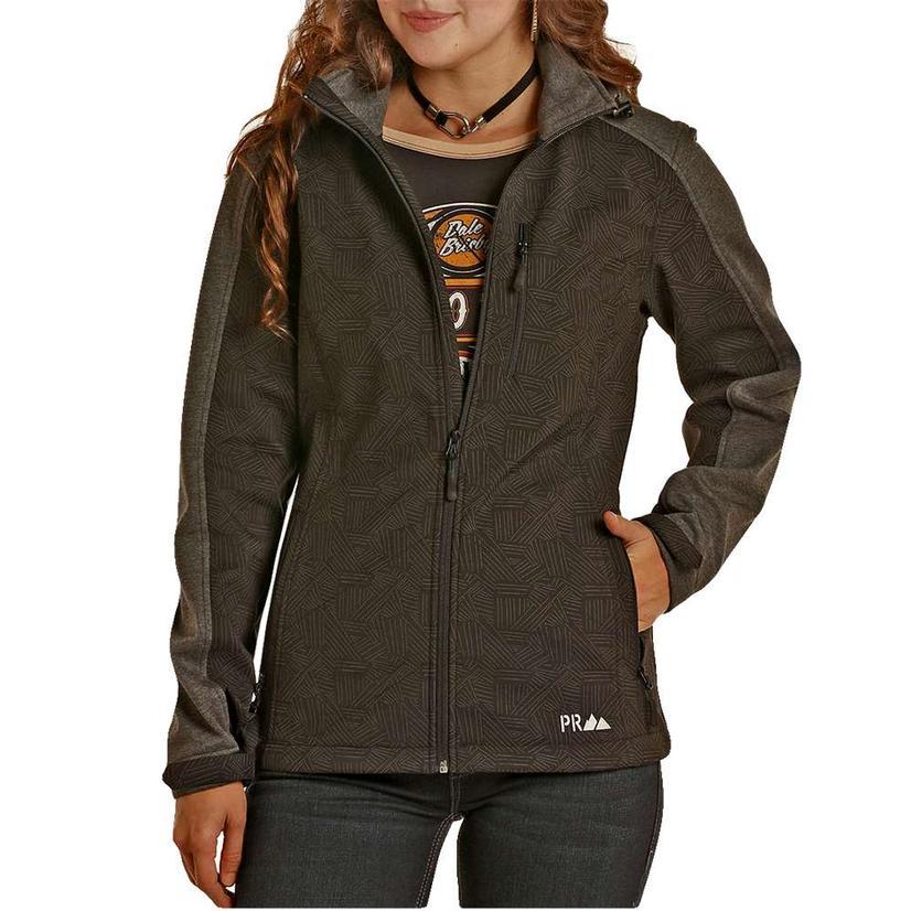 Powder River Womens Black Reflective Soft Shell Jacket