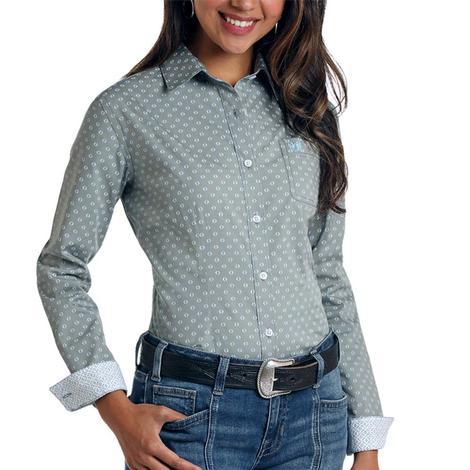 Panhandle Blue Grey Print Long Sleeve Button Down Women's Shirt