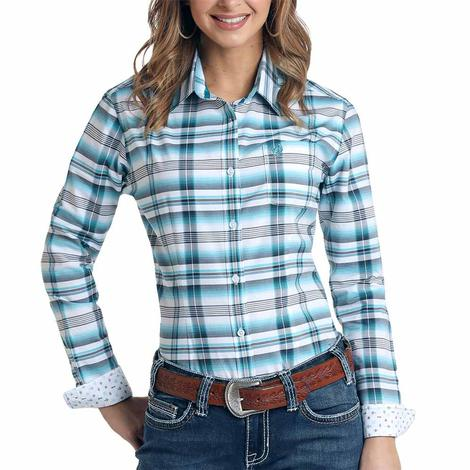 Panhandle Womens Turquoise Plaid Button Down Long Sleeve Shirt