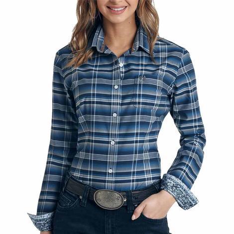Panhandle Womens Navy Plaid Button Down Long Sleeve Shirt