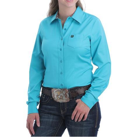 Cinch Womens Turquoise Long Sleeve Shirt