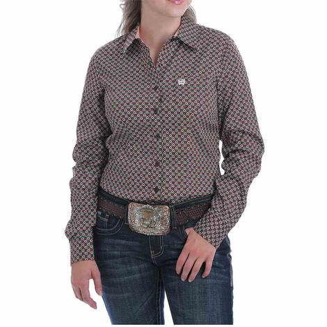 Cinch Brown and Coral Print Long Sleeve Women's Shirt