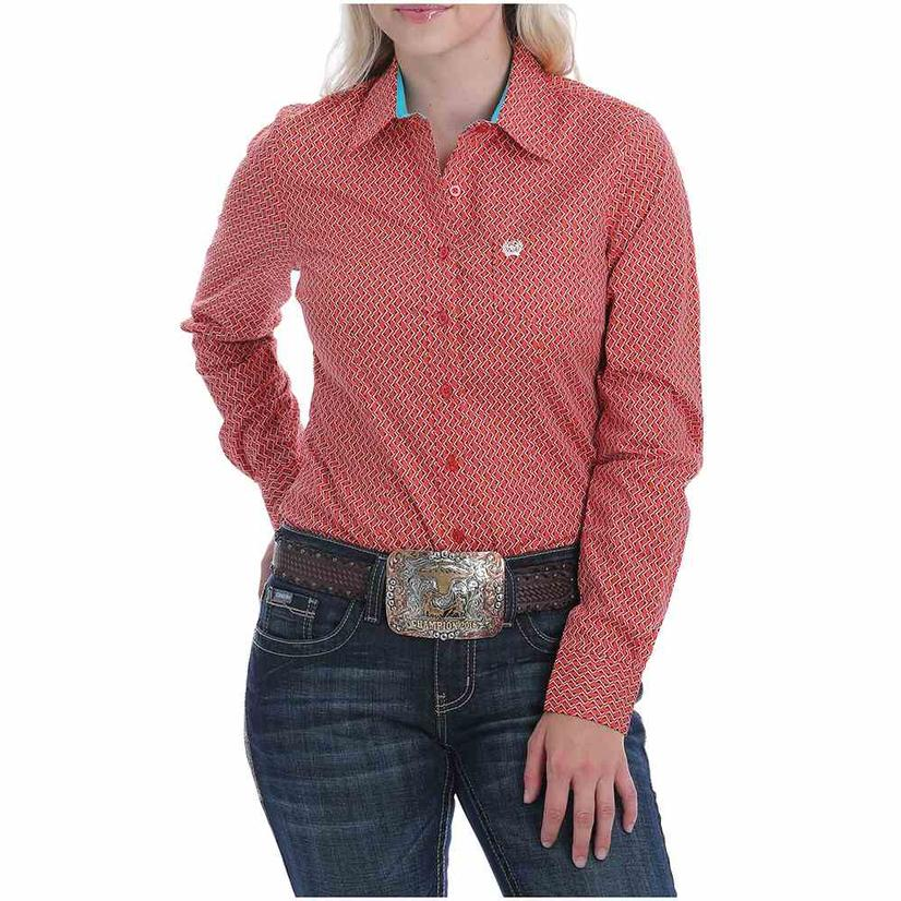 Cinch Coral And Orange Print Long Sleeve Women's Shirt