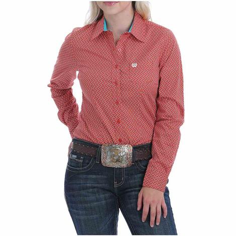 Cinch Coral and Orange Print Long Sleeve Women's Shirt