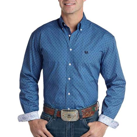 Panhandle Blue Print Long Sleeve Button Down Shirt