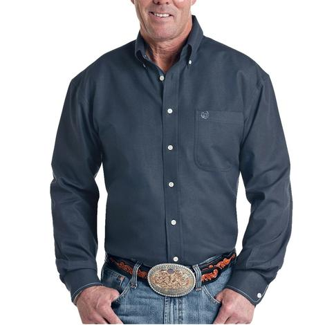 Panhandle Solid Navy Blue Long Sleeve Button Down Shirt