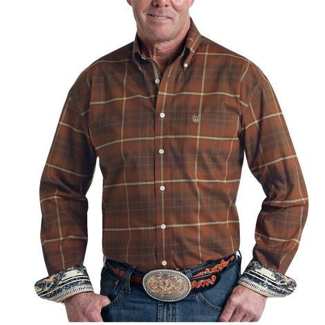 Panhandle Slim Men's Button Down Rust Plaid Long Sleeve Shirt